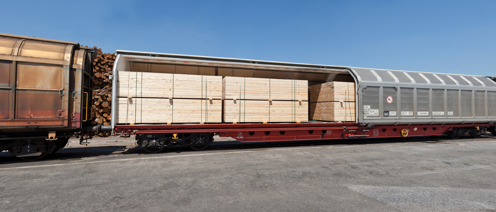 Transport des Schnittholzes